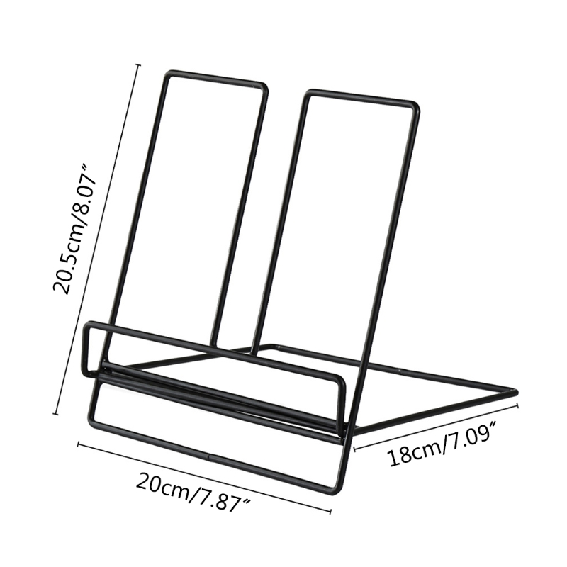 Multifunction Geometric Wrought Iron Storage Rack Tablet Book Display Organizer