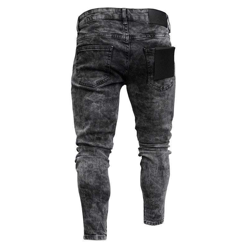 Biker Jeans Men's Distressed Stretch Ripped Biker Jeans Men Hip Hop Slim Fit Holes Punk Denim Jeans Cotton Pants Zipper jeans 2