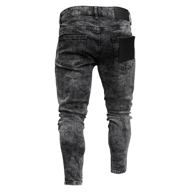 Biker Jeans Men's Distressed Stretch Ripped Biker Jeans Men Hip Hop Slim Fit Holes Punk Denim Jeans Cotton Pants Zipper jeans 2