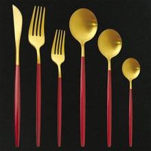Ensemble de couverts en acier inoxydable, 36 pièces, rouge, or mat, fourchette à Dessert, cuillère, argenterie, service de table de cuisine