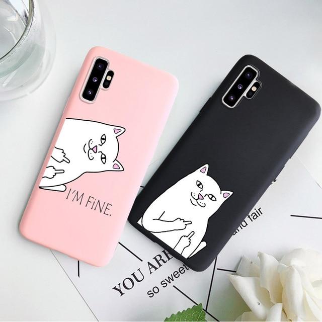 Carton Chat Étui de Téléphone Pour Samsung Galaxy S7 Bord S8 S9 S10 Plus S10E A10 A10S A20S A30 A50 A70 A90 5G Note 10 Pro 9 8 Couverture Souple