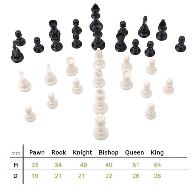 Pièces d'échecs en plastique 32 pièces jeu d'échecs roi hauteur 49/64/75/95mm jeu d'échecs Standard échiquier médiéval pour les jeux de voyage IA13 3