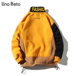 Image 2 - Una Reta erkekler kazak yeni Hip Hop renk blok Patchwork polar tişörtü erkek Harajuku kazak tops Casual Streetwear