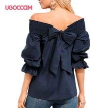 UGOCCAM Women Off Shoulder T-shirt Lantern Sleeve Ruffles Sexy Summer White T-shirt Casual Plus Size Top Women blusas de mujer