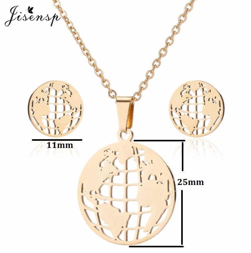 Jisensp czeski styl jesień liść zestawy biżuterii ze stali nierdzewnej wisiorek naszyjnik kolczyki dla kobiet dziewczyny Party prezent bijoux