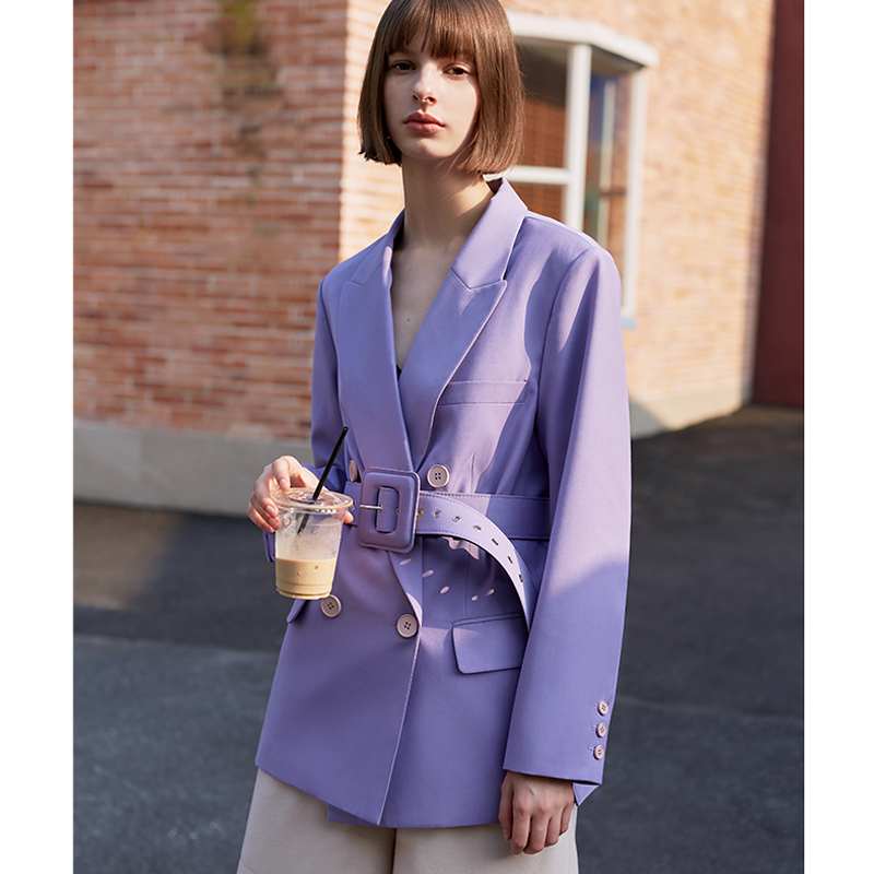 AEL Retro Autumn Spring Jacket Women Suit Coats Violet Outwear Casual Turn Down Collar Streetwear Loose Jackets Blazer