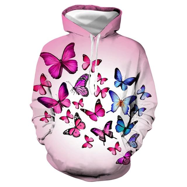 Fashion Elegant Beautiful Butterfly Parrot 3D Printed Hoodie Girl Funny Trendy Flower Weed Pullover Hoodies Women Female Jumper 1