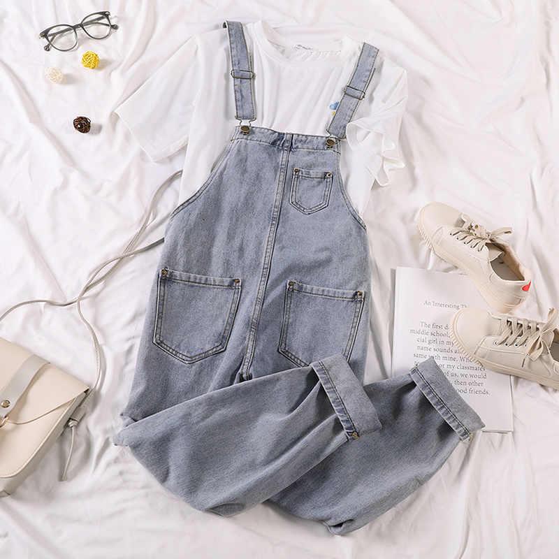קיץ Rompers נשים ג 'ינס סרבל גדול גודל 2020 Loose מקרית ינס Rompers נשים סרבלי רחב רגל מזדמן ג' ינס סרבל