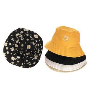 Summer Daisies Bucket Hat Women Fashion Cotton Beach Sun Hats Reversible Bob chapeau Femme Floral Panama Hat Fisherman Hat(China)