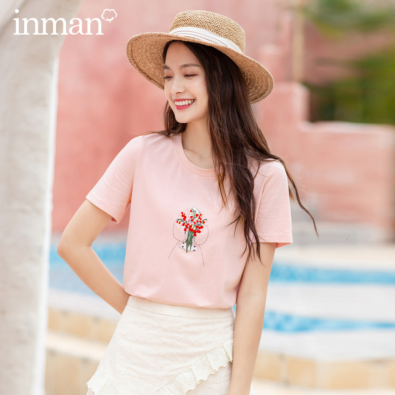 INMAN 2020 Summer New Arrival Round Collar Carton Embroidery All Matched Young Look Style T-Shirt