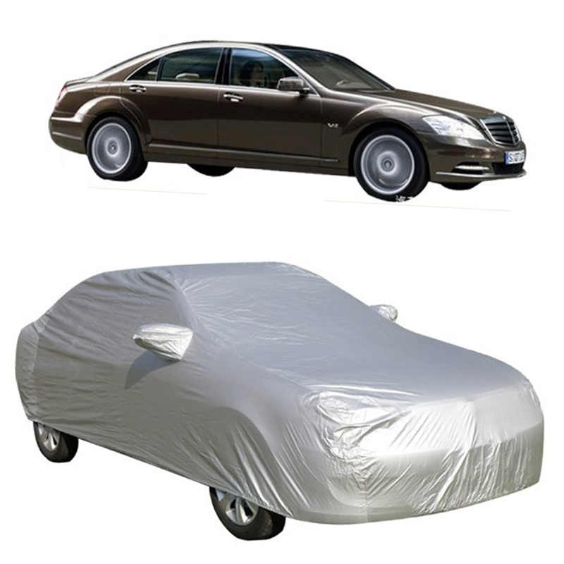 Universele Full Car Covers Sneeuw Ijs Stof Zon UV Shade Cover Opvouwbare Licht Zilver Maat S-XXL Auto Outdoor Protector cover