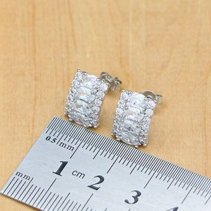 Image 4 - Natural Silver 925 Bridal Jewelry Sets White Zircon Crystal For Women  Earrings Pendant Rings Bracelet Necklace Kits
