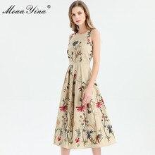 MoaaYina Fashion Designer dress Spring Summer Women Dress Sleeveless Flowers Embroidery Elegant Midi Dresses