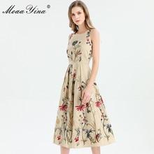 Moaayina 패션 디자이너 드레스 봄 여름 여성 드레스 민소매 꽃 자수 우아한 미디 드레스