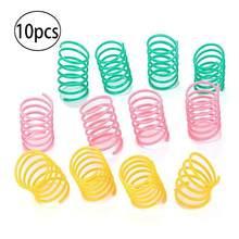 10 pacote de brinquedo de mola de gato plástico colorido bobina espiral molas pet ação grande durável brinquedos interativos