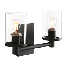 Permo Industrial 2 Light Glass Wall Hanging Wall Light Bedroom Bathroom Dresser Lamp with 3.9 Inch Transparent Glass Shade