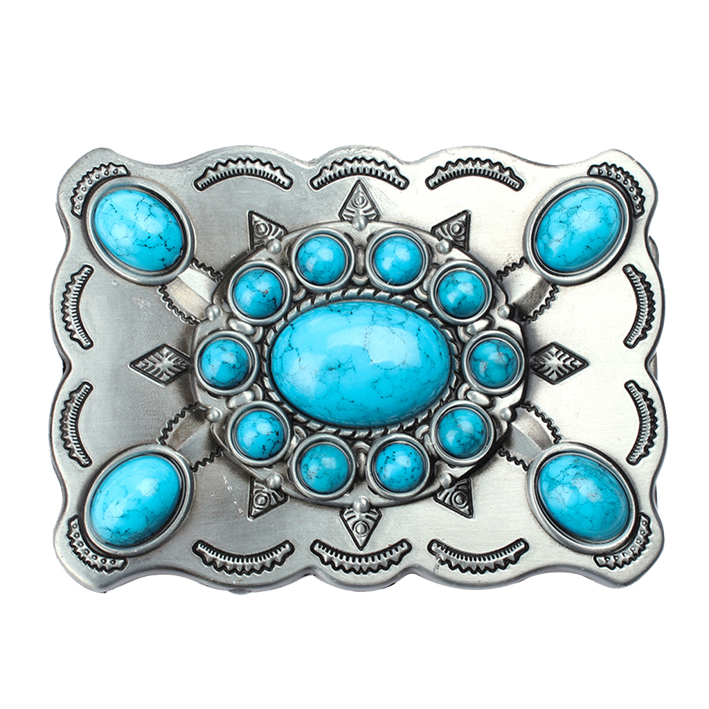 Classic Men Synthetic Turquoise Blue Stone Western Boho Belt Buckle 9x7.5cm