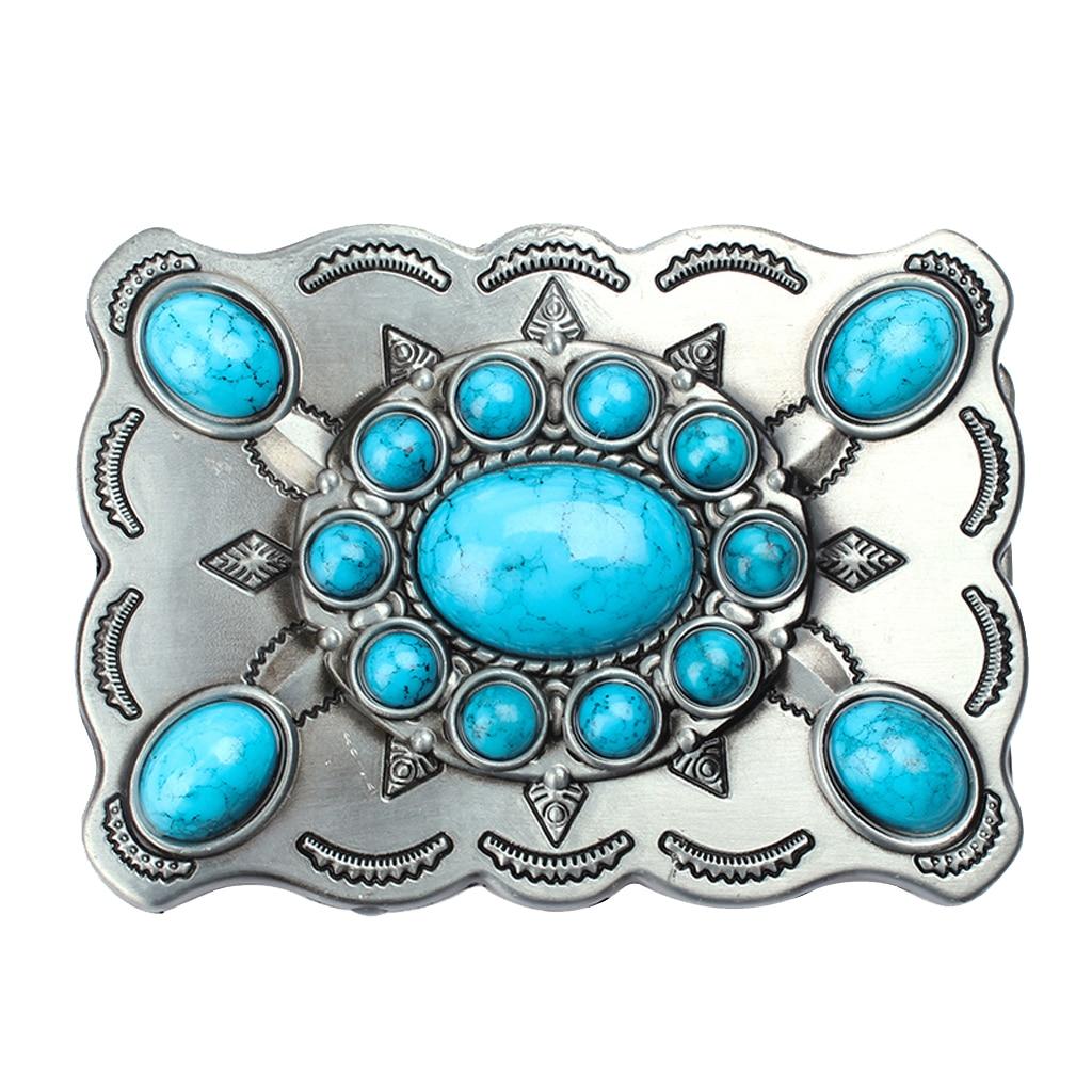 Classic Men Synthetic Turquoise Blue Stone Western Boho Belt Buckle 9x7.5cm