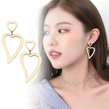 2020 new fashion gold metal Hollowed-out heart dangle drop earrings for women fashion simple Irregular jewellery girl gift artificial crystal floral hollowed heart drop earrings