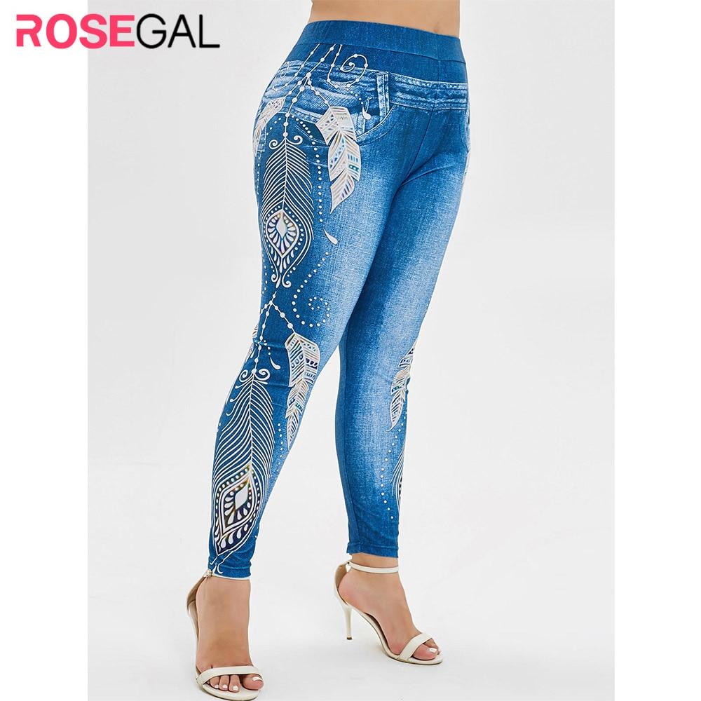 ROSEGAL Women Leggings Plus Size High Waist 3D Jeans Print Leggings Elastic Skinny Casual Workout Leggings Fitness Feminina