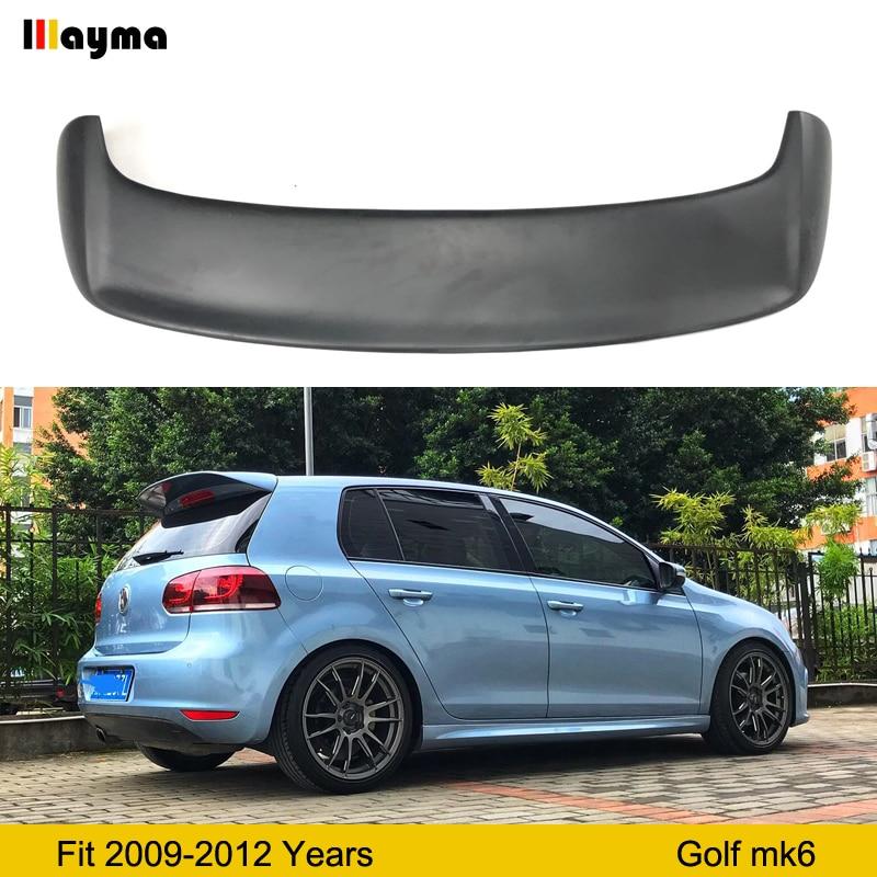 Fiber glass rear trunk spoiler For VW Golf VI MK6 Car FRP Matte black rear wing spoiler 2009-2012 year Golf 6 Roof wing spoiler