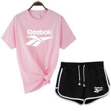 New 2021 summer Plus size Women sets print T shirts + Black shorts 2 piece set Female Casual sweat suits