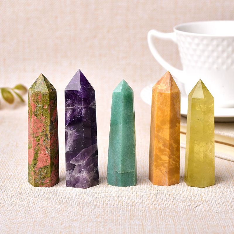 30 Color Natural Stones Crystal Point Wand Amethyst Rose Quartz Healing Stone Energy Ore Mineral Crafts Home Decoration 1PC