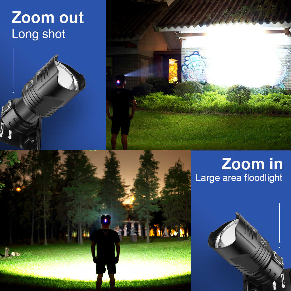 300000lm XHP100 LED Headlamp USB Rechargeable Powerful Headlight Camping Zoom