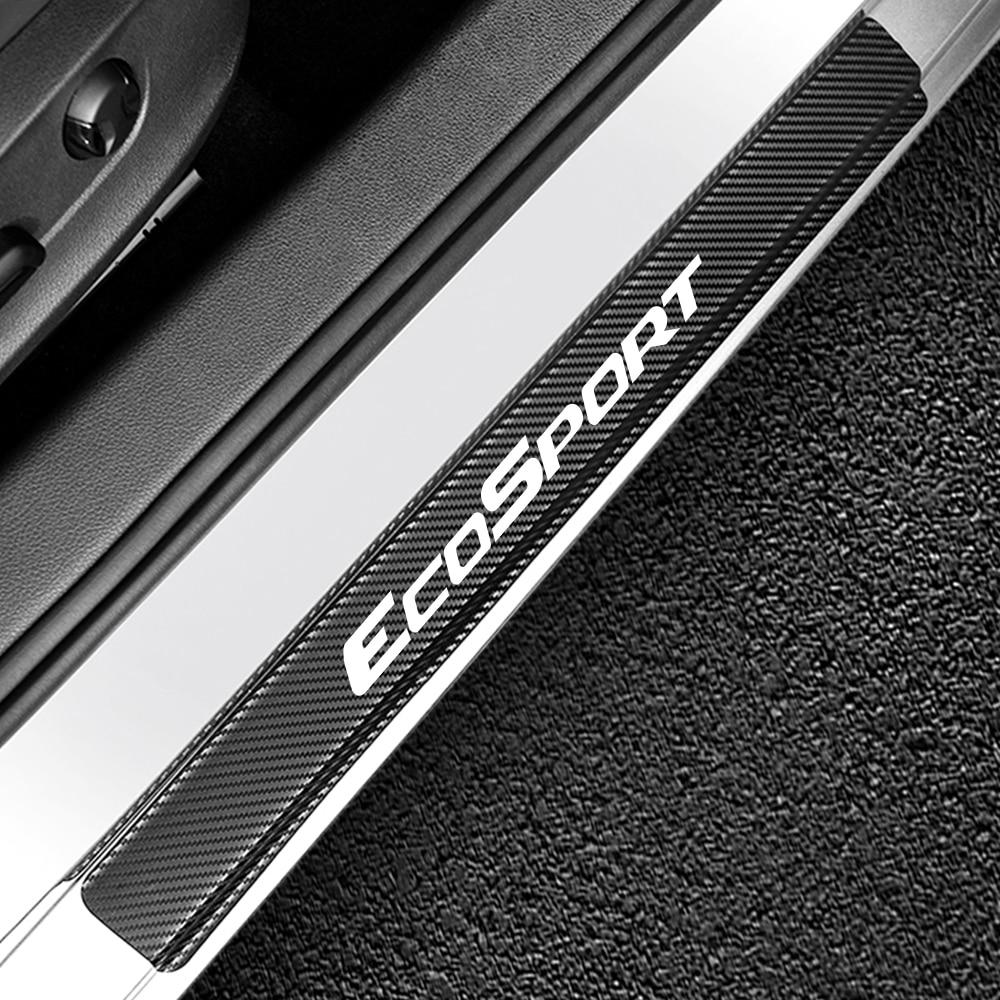4 шт. наклейки на пороги автомобиля для Ford Ecosport Авто углеродное волокно Защита от царапин наклейка Накладка для автомобиля аксессуары для тюнинга