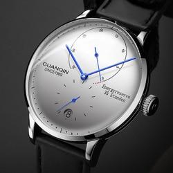 GUANQIN механические деловые часы для мужчин люксовый бренд светящиеся Нержавеющая сталь ремешок на запястье для мужчин s автоматические часы ...