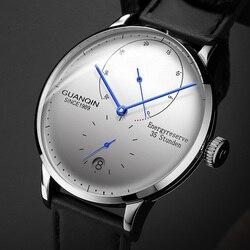 GUANQIN الميكانيكية ساعة رجال الأعمال الفاخرة العلامة التجارية مضيئة الفولاذ المقاوم للصدأ حزام المعصم رجالي ساعات أوتوماتيكية ساعة relogio BYR