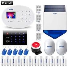 KERUI sistema de alarma de Casa W20, WIFI, GSM, 2,4 pulgadas, Panel táctil, 6 idiomas, alarma antirrobo conmutable, aplicación de Host, Sensor PIR RFID, sirena