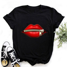 Graphic Tees T-Shirt Mouse Harajuku-Tops Lips Summer Tops Girl Plus-Size Women