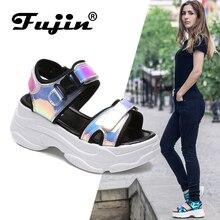 Fujin 브랜드 여성 샌들 2020 새로운 패션 숙 녀 캐주얼 신발 여성 웨지 버클 스트랩 플랫폼 신발 5 CM 여름 샌들