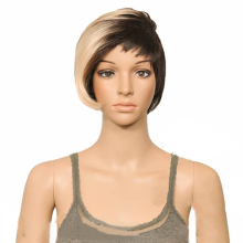 HAIRJOY SynthetiC Hair Wig Short Razor Cut with Long Side Bang 9 Colors Available cute fluffy short boy cut human hair side bang wig for women