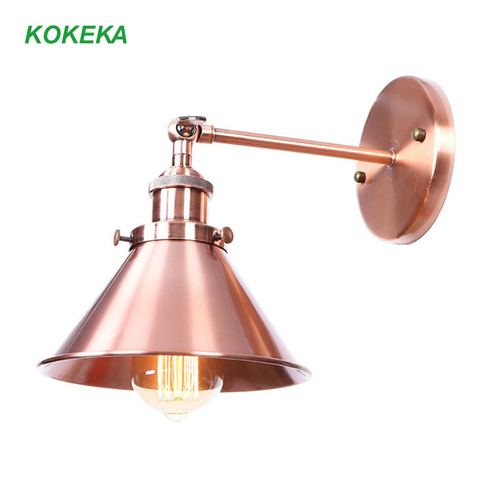 Wall Lamp Vintage Red Copper Color High Metal Lamp Body Standard E27 Lamp Holder for Bedroom Restaurant Wall Metal Decoration|Wall Lamps| |  - title=