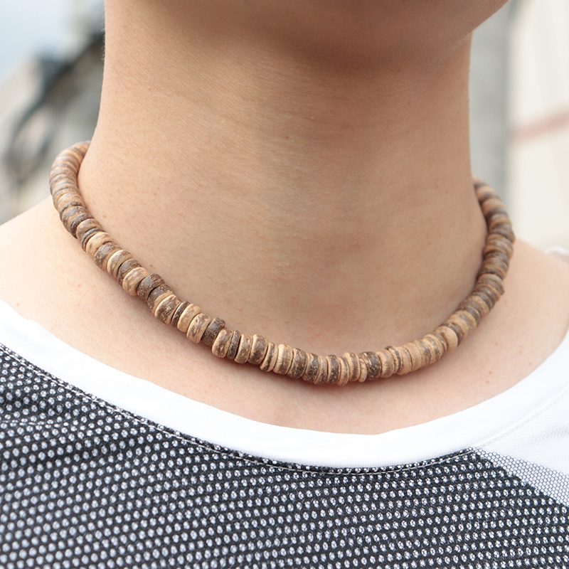 Fashion Antique Handmade Coconut Shell Wood Chocker Necklace Boho Mens Short Neckless For Male Vintage Jewelry Homme(China)
