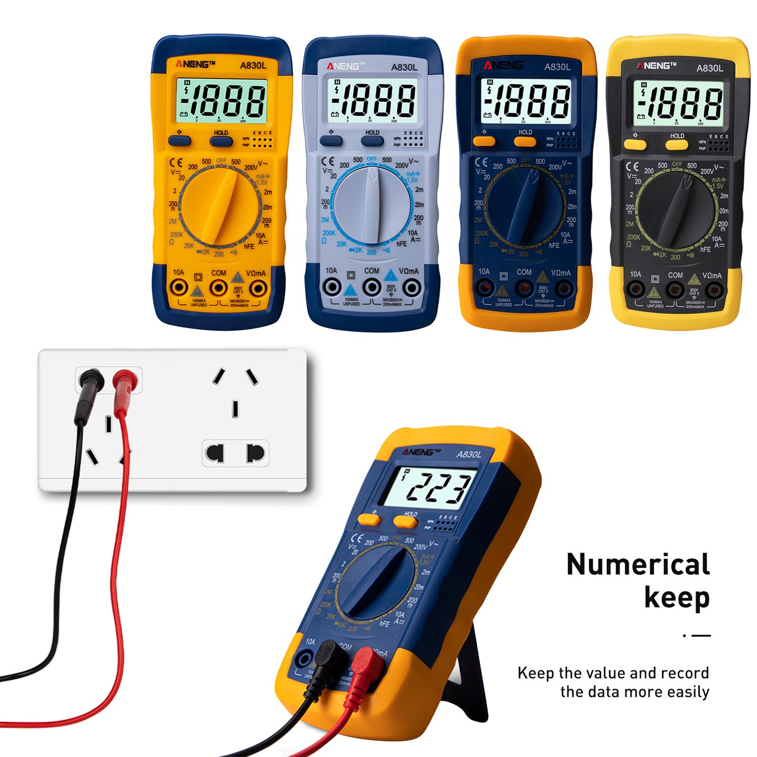 A830L LCD Digital Multimeter Mini Pocket Hand-held Multimeter Voltmeter Ammeter Ohmmeter Multimeter Volt AC DC Tester Meter