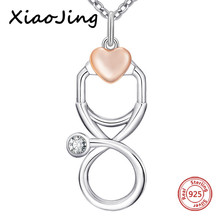 XiaoJing 100% 925 sterling silver love heart Stethoscope chain pendant&necklace diy fashion jewelry making for women gifts 2019