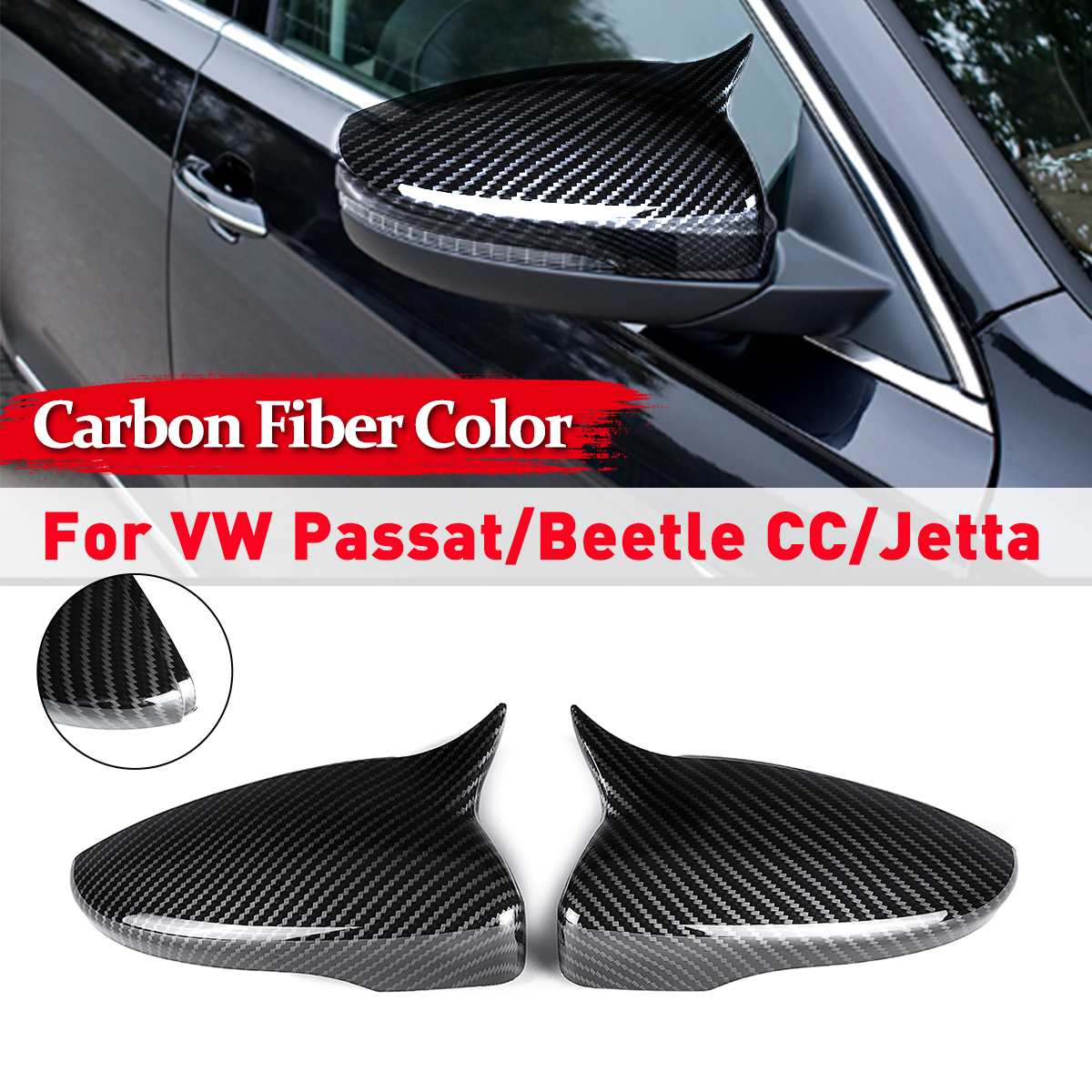 Horn Style Carbon Fiber Style Wing Door Rearview Mirrors Cap Mirror Covers For VW CC JETTA Scirocco Passat B7 Beetle