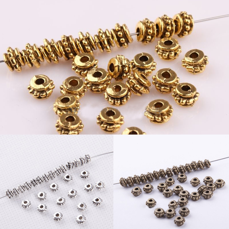 50//150pcs Rose gold Small Snowflake Flower Loose Spacer Beads Charms 8mm