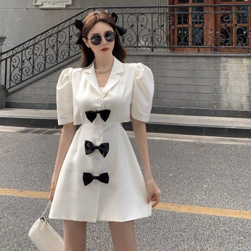 Хепберн Стиль персонализированные жареные улица костюм юбка 2021new корейский стиль Стиль, дизайн наряд до талии Платье с бантом для Для женщи...