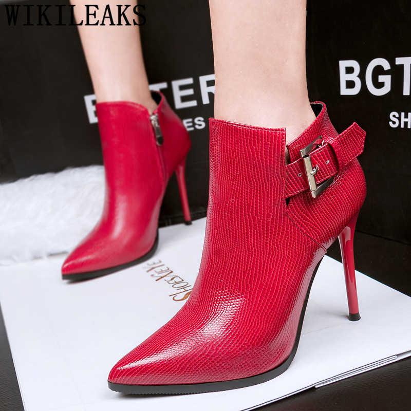 Mode lederen laarzen vrouwen enkellaars voor vrouwen rode laarzen schoenen vrouw bota feminina ботинки женские botas mujer invierno 2019