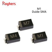 Pcs SMD Diodos Retificadores M7F 50 M7 M4 M2 M1 1A 50V 100V 200V 400V 600V 800V 1000V SMA Diodos de Silício DO-214AC Eletrônico