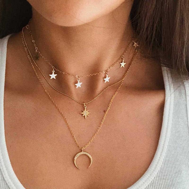 17 كجم جديد متعدد الطبقات الذهب القلائد للنساء موضة خريطة القمر ستار صورة قلادة قلادة المختنق مجوهرات على شكل قلب 2020 هدية