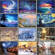 Mosaico de paisaje completo con diamantes de imitación, pintura redonda de árbol, bordado de diamantes de imitación, Kit de punto de cruz, arte de diamantes de Navidad