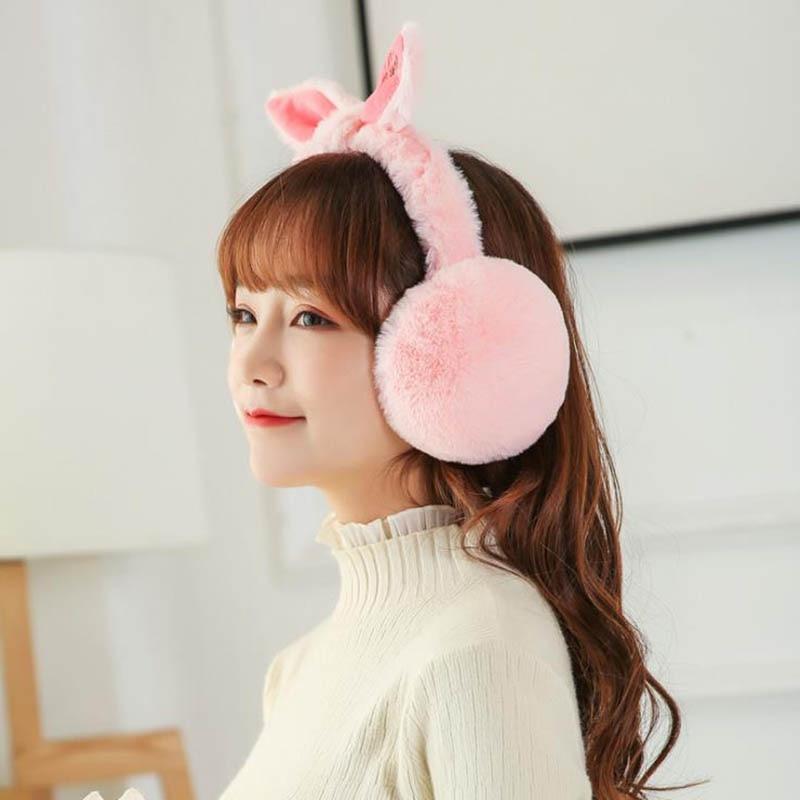 Calymel Adjustable Elegant Rabbit Fur Winter Fashion Earmuffs For Women Warm Earmuffs Ear Warmers Gifts For Girls Cover Ears