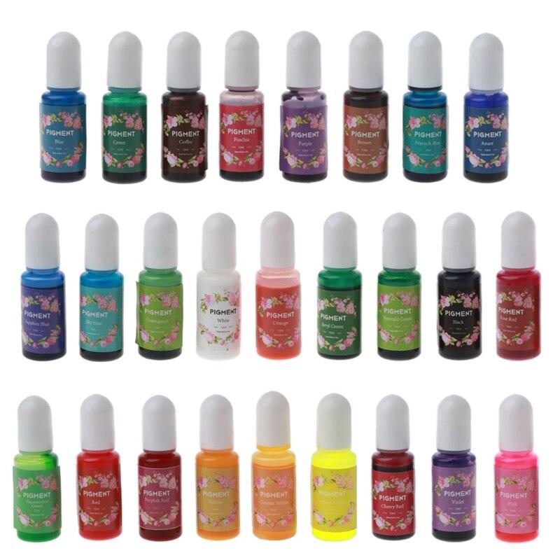 26 renk epoksi reçine Pigment sıvı reçine renklendirici Pigment reçine renklendirici boya kristal kalıp sabun yapımı damla gemi