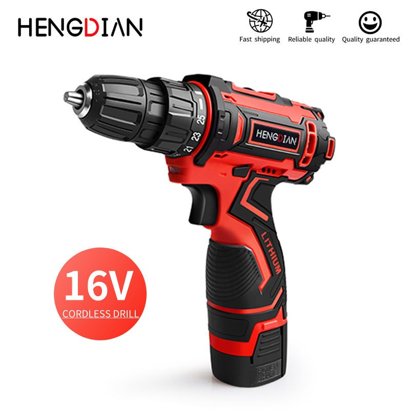 Household DIY Tool 36N.m 16V Cordless Drill With Led Light Double speed 25+1 torque power drill