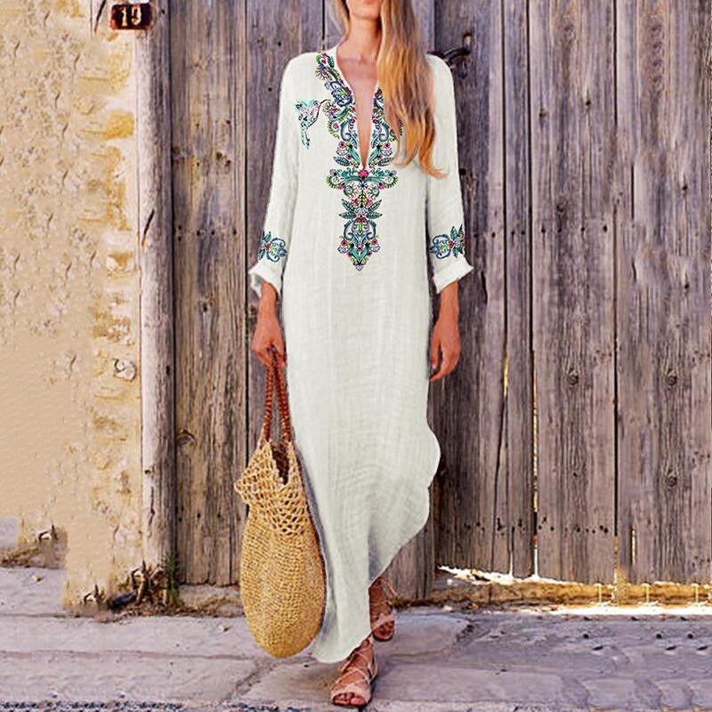 Women Boho Long Maxi Dress National Style Floral Print Summer Cotton Linen Party Beach Sundress Elegante Dresses Plus Size 3XL